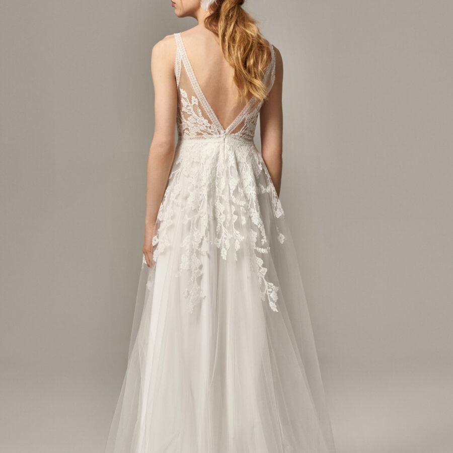 Anna Kara 2020 - Modèle Effie - Robe de mariée en tulle transparente avec décolleté - Boutique Elle a dit Oui by Elsa Gary Caen