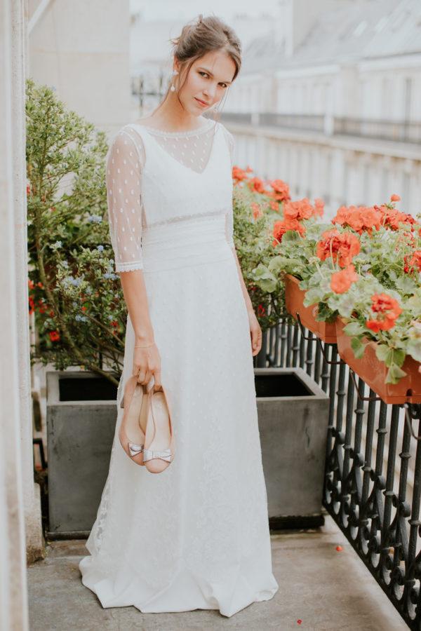 Elsa Gary 2020 - Modèle Aurélie - Robe de mariée élégante et atypique composée de trois pièces - Boutique Elle a dit Oui by Elsa Gary Caen