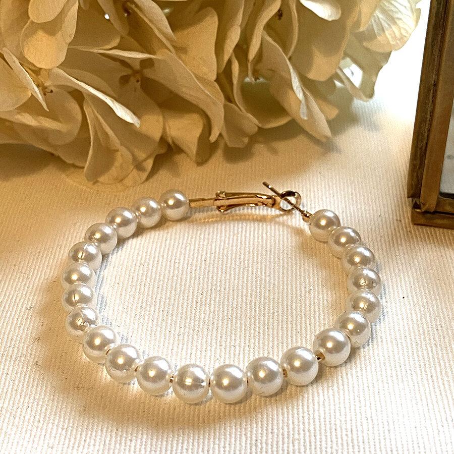 Boucles d'oreille créole en perles