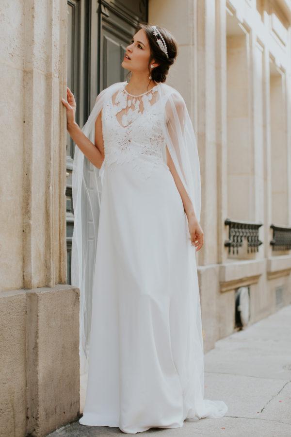 Elsa Gary 2020 - Modèle Feuille - Robe de mariée élégante et champêtre au décolleté dos échancré - Boutique Elle a dit Oui by Elsa Gary Caen